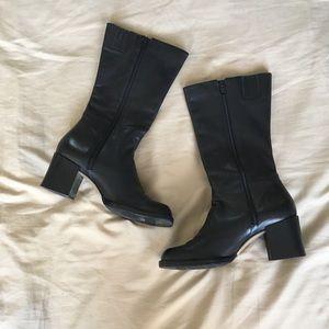 Vintage Black Block Heel Boots
